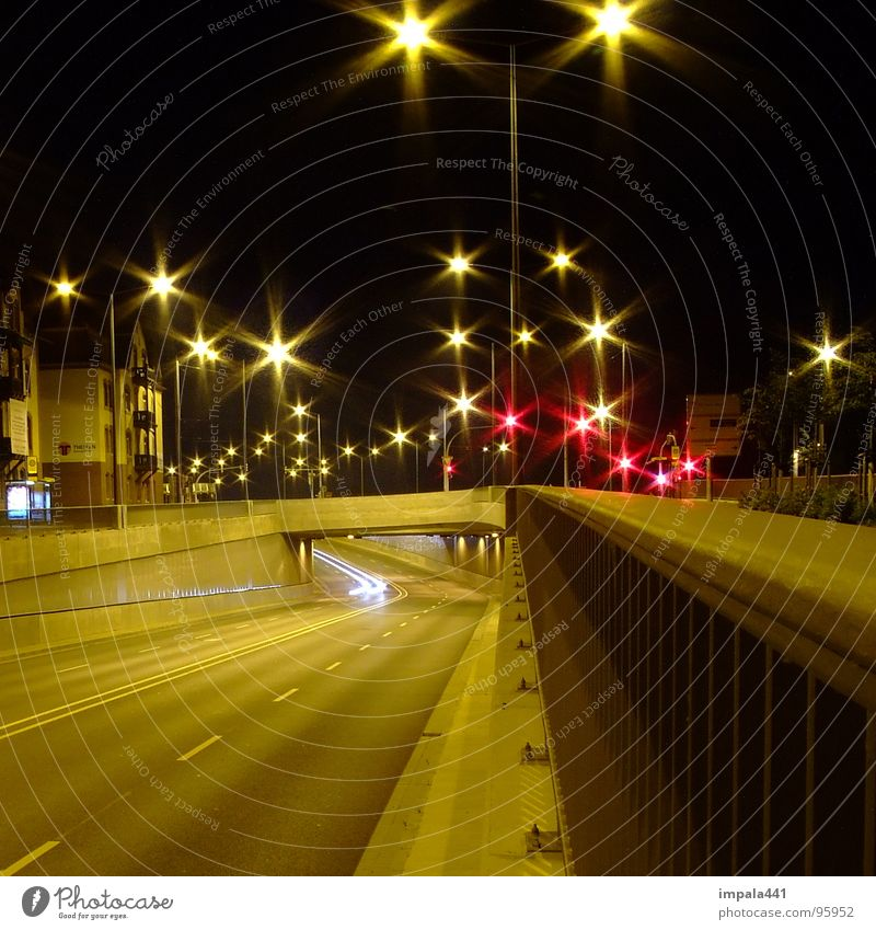starlight Glittering Long exposure Lantern Tunnel Night Dark Traffic light Traffic infrastructure Industry Star (Symbol) Car Street Light Bridge citylights