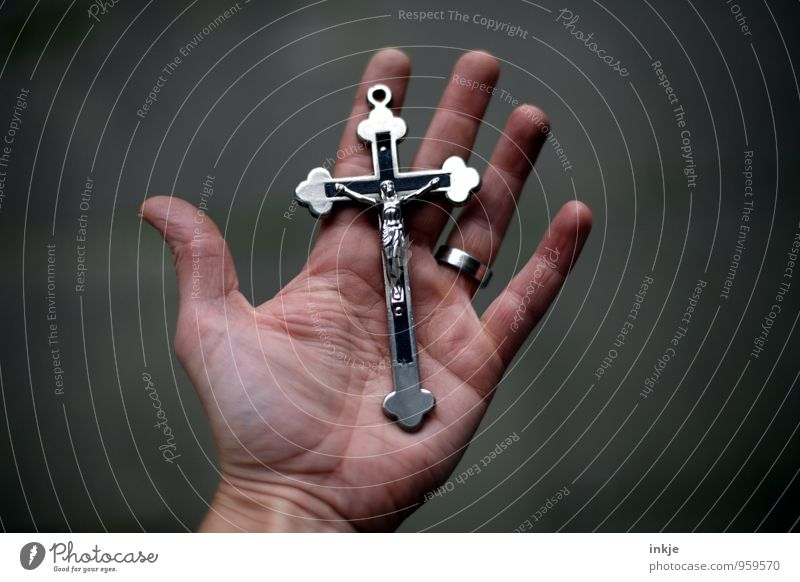 icon Lifestyle Hand Palm of the hand Metal Sign Crucifix Christian cross Jesus Christ Emotions Trust Loyal Goodness Dedication Altruism To console Grateful Hope