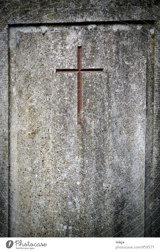 carved in stone Sculptor Tombstone Stone Sign Crucifix Christian cross Sharp-edged Simple Brown Gray Sadness Grief Death Religion and faith Chiseled Corner