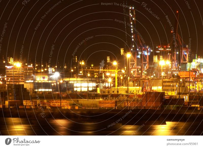 Sleepless in Hamburg Light Night Dark Reflection Life Town Shift work Work and employment Crane Industry Harbour Navigation Water containers Bright Lighting