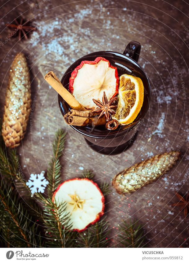 Mulled wine on wooden table with Christmas decoration and fir branch Food Fruit Nutrition Organic produce Beverage Hot drink Tea Alcoholic drinks Wine Cup