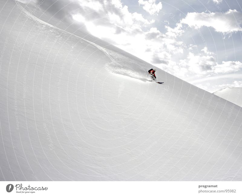 Powder pure Winter Skier Skiing Winter sports Deep snow Hohen Tauern NP Kitzsteinhorn White Cold Soft Austria Exterior shot Landscape format Mountain Snow