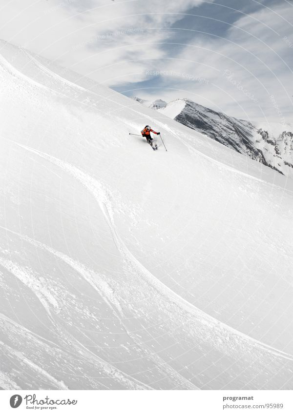 Deep snow skiing in the Alps Winter Skier Skiing Winter sports Hohen Tauern NP Kitzsteinhorn White Cold Soft Austria Exterior shot Landscape format Joy
