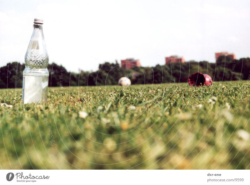 Green Meadow High-rise Ball Lawn Bottle Devil Symbols and metaphors Bottle of water
