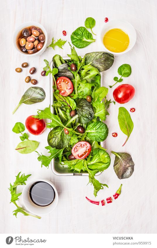 Wild herb salad with tomatoes, olives, vinegar and oil Food Vegetable Lettuce Salad Herbs and spices Cooking oil Nutrition Lunch Dinner Buffet Brunch