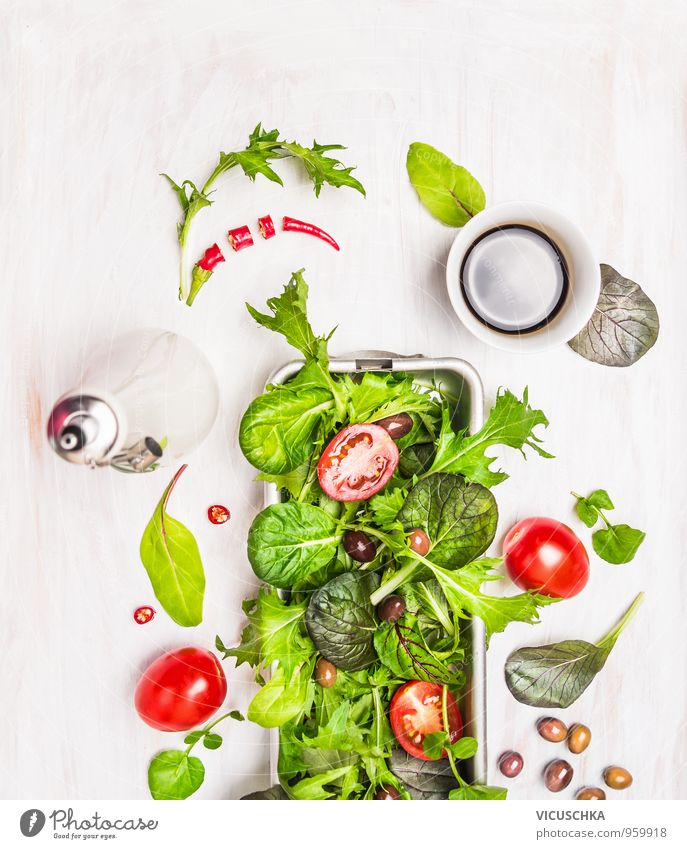 Green mix salad with tomatoes, oil and balsamic vinegar Food Vegetable Lettuce Salad Herbs and spices Nutrition Lunch Dinner Organic produce Vegetarian diet