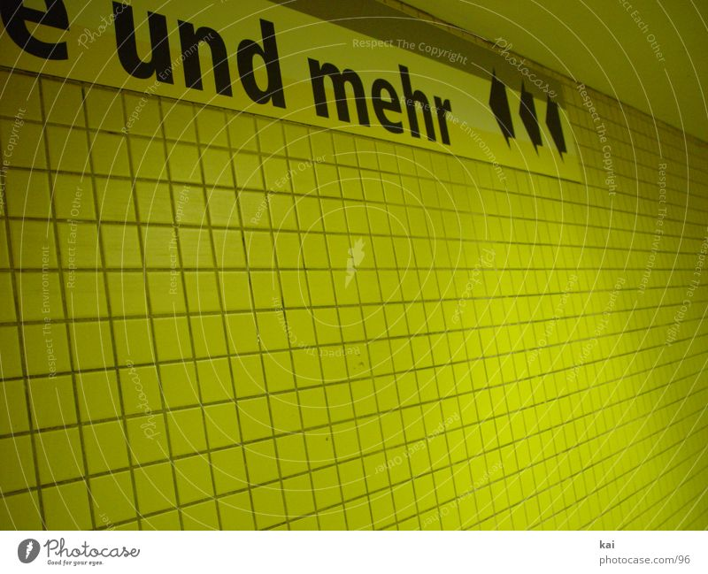 Architecture Signs and labeling Characters Tile Tunnel Underground Signage Hallway Subway station Underground tunnel