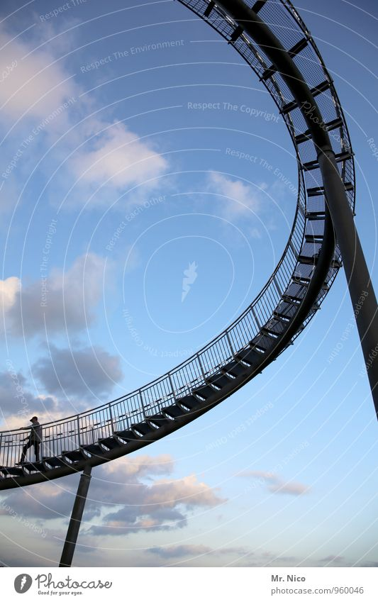 round trip Leisure and hobbies Vacation & Travel Trip Freedom 1 Human being Environment Sky Clouds Weather Going Curve Swing Spirited Steel Steel carrier