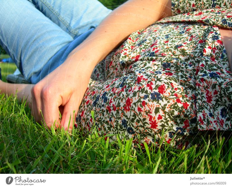 Woman Hand Flower Colour Relaxation Meadow Jeans Lawn Lie Blouse
