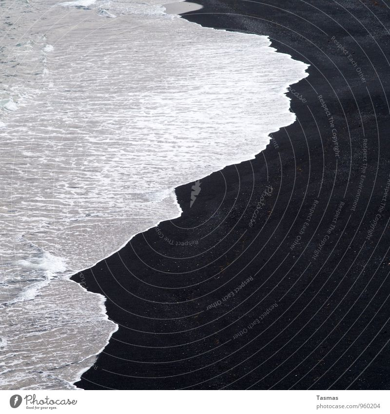 Nature Water White Ocean Calm Beach Black Coast Sand Waves Adventure Elements Senses Yin and Yang Abstract