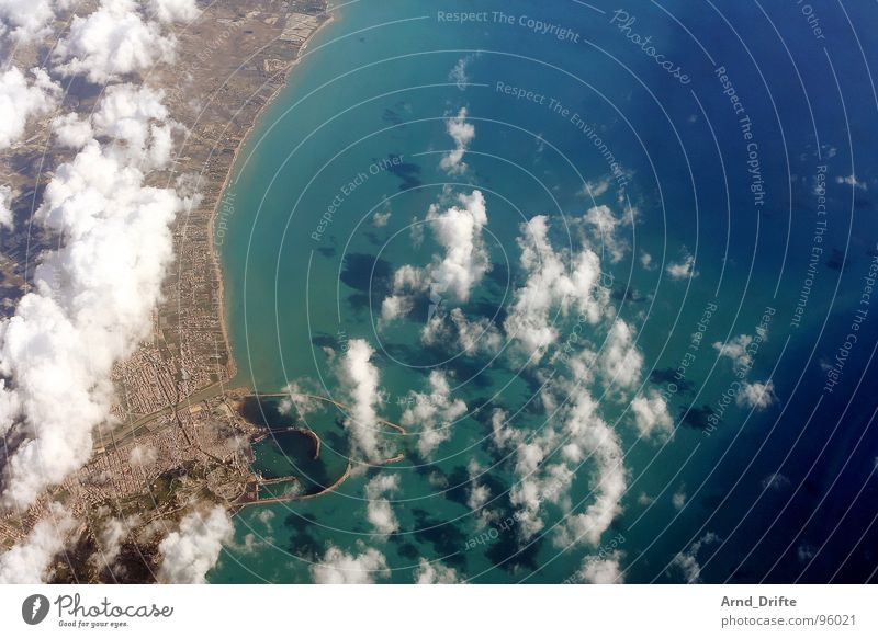 Coast of Sicily Bird's-eye view Aerial photograph Clouds Ocean Vantage point Air Horizon Beautiful Long Far-off places Town Beach Italy Water Blue Flying Sun