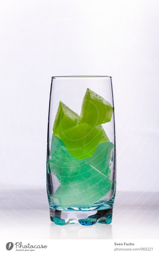 Green Cold Yellow Glass Frozen Cocktail Longdrink Mint Ice cube