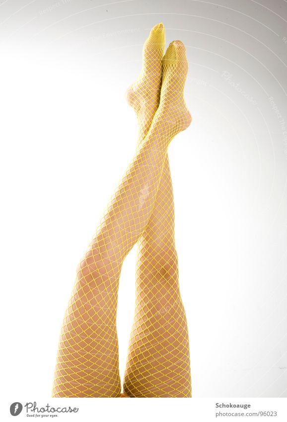 Beautiful Joy Yellow Feet Legs Skin Elegant Net Stockings Toes Thigh Calf Fishnet tights