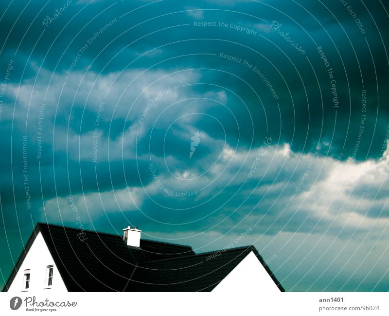 downpour Clouds House (Residential Structure) Building Roof Window Safety Dangerous Sky Thunder and lightning Rain Chimney