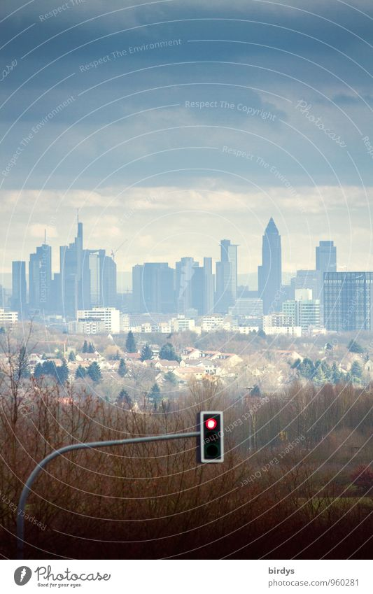 Skyline of Frankfurt am Main, in front of the city gates, red traffic light, symbolic picture Stock market Financial institution Storm clouds Autumn Bad weather