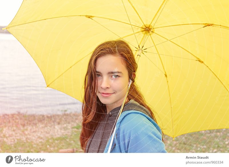 Portrait - Umbrella - Yellow Lifestyle Joy Human being Feminine Youth (Young adults) 1 13 - 18 years Child Landscape Autumn Weather Bad weather Rain River bank