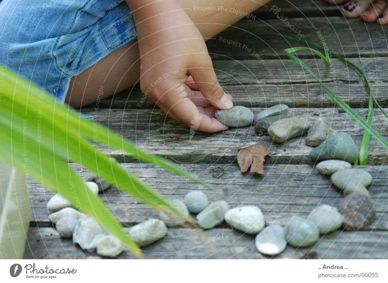 Human being Child Nature Youth (Young adults) Summer Young woman Relaxation Hand Calm Girl Love Playing Wood Stone Garden Legs