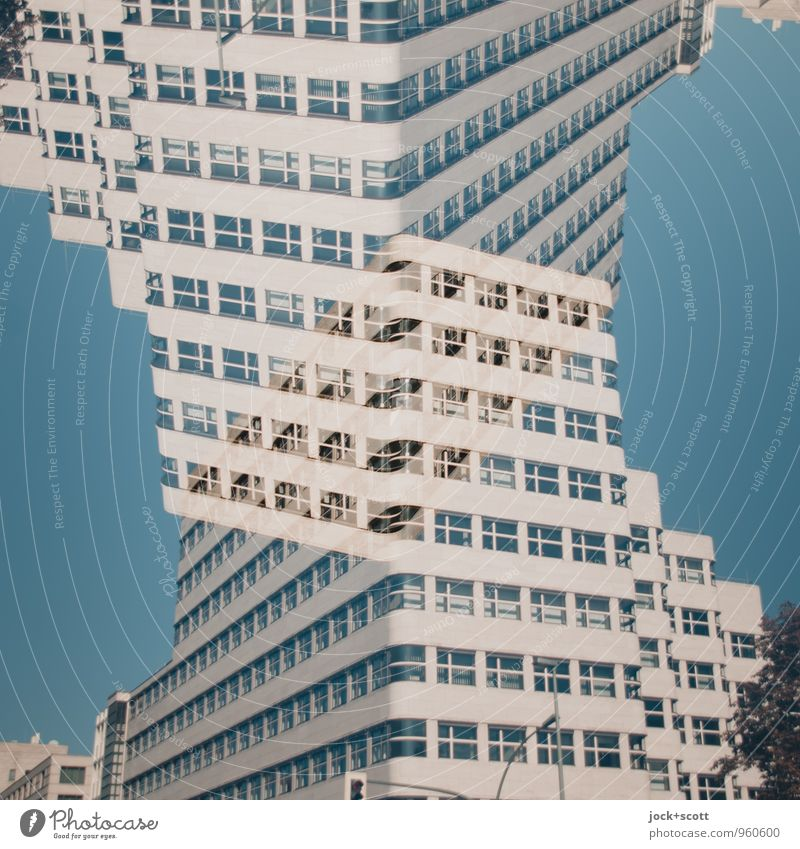 Double pack of a house facade Style Architecture Cloudless sky built Facade Stripe Modern Crazy Complex Puzzle Surrealism Change Double exposure Equal