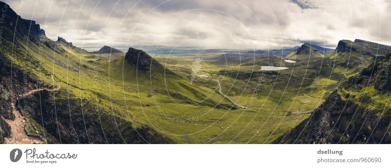 View over the hills of Quiraing on the Isle of Skye Panorama (View) Contrast Shadow Light Day Deserted Scotland Colour photo Exterior shot Quiarang Open Green