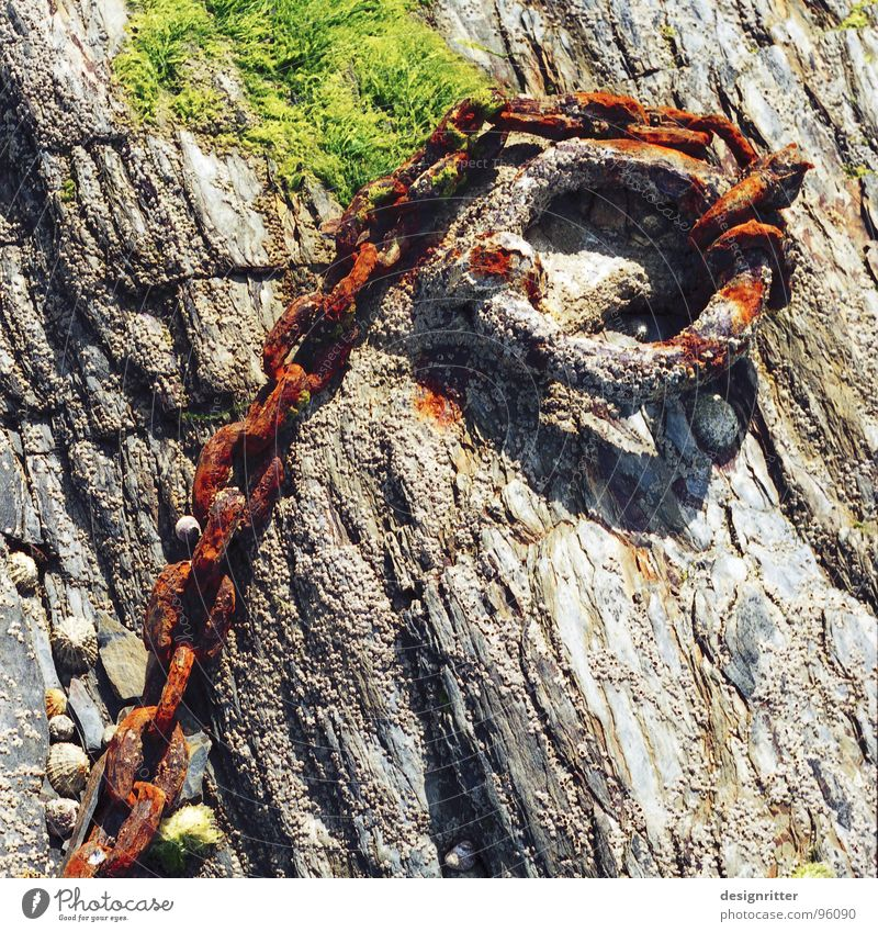 (H)old Chain Bond To hold on Rescue Catch Captured Ocean Atlantic Ocean Brittany Noble Rust Lake Transience Handcuff Old Stone Rock bind Beautiful tight save