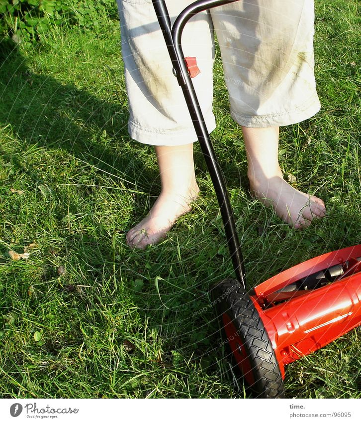 We're about to get it right here. Shadow Services Boy (child) Feet Meadow Pants Green Red Lawnmower Patch Mow the lawn