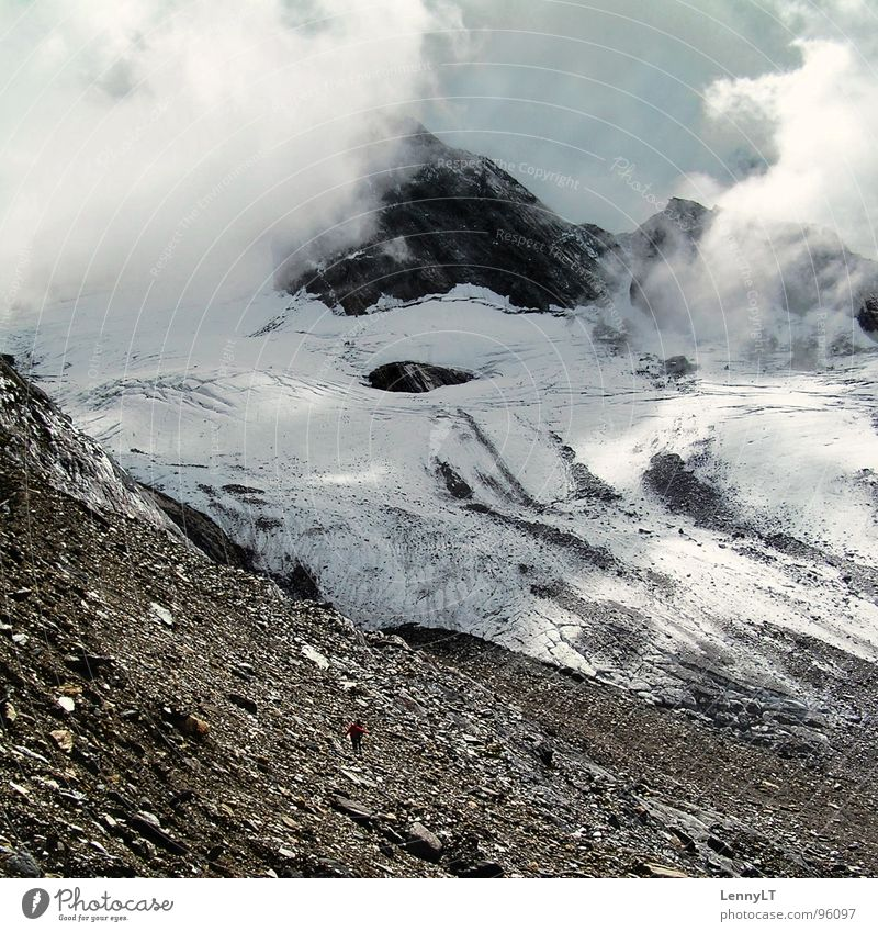 HALF FULL OF HAPPINESS Unfriendly Melt Glacial melt Glacier Mountaineering Vacation & Travel Go up Federal State of Tyrol Winter Clouds Hiking Ice Cold
