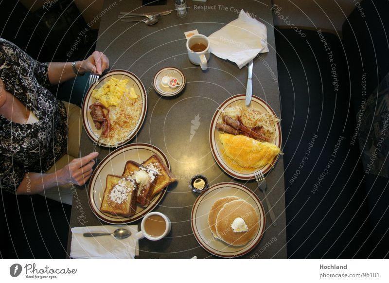 breakfast in America Breakfast Wake up Vitamin Table Plate Fork Spoon Woman Americas Heart attack Cholesterol Morning Unhealthy Delicious Pancake Ham