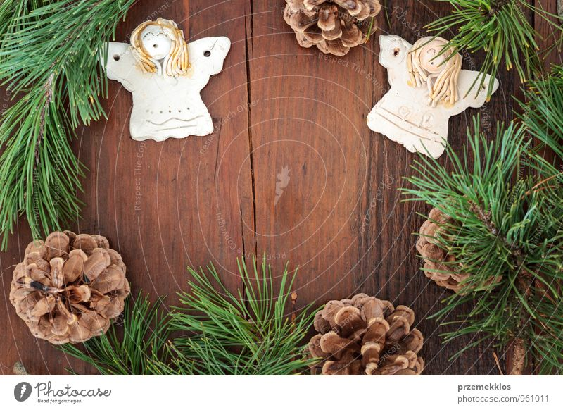 Christmas decoration Green Natural Background picture Wood Lifestyle Feasts & Celebrations Brown Decoration Copy Space Authentic Individual Heart Gift