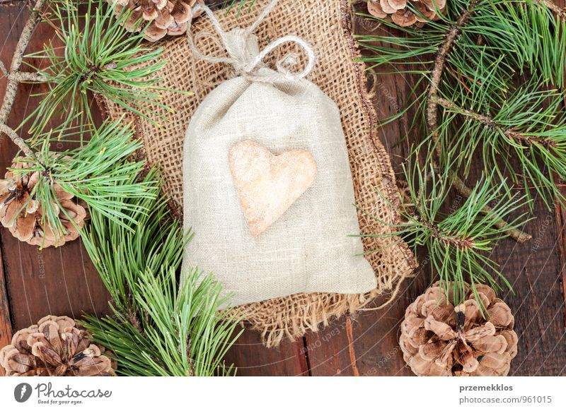 Christmas gift Green Natural Wood Lifestyle Feasts & Celebrations Decoration Authentic Individual Heart Gift Uniqueness Culture Rope String Seasons Cloth