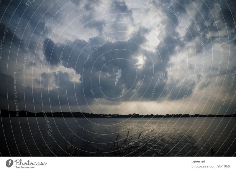 Clouds over the Eckernförder Noor Nature Landscape Water Sky Sunrise Sunset Sunlight Autumn Lake Threat Dark Cold Emotions Moody Trust Safety (feeling of)
