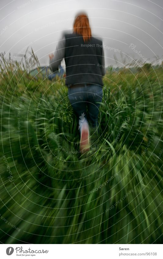 Woman Fear Running Speed Force Escape Panic Cornfield Criminality Abuse Tunnel vision