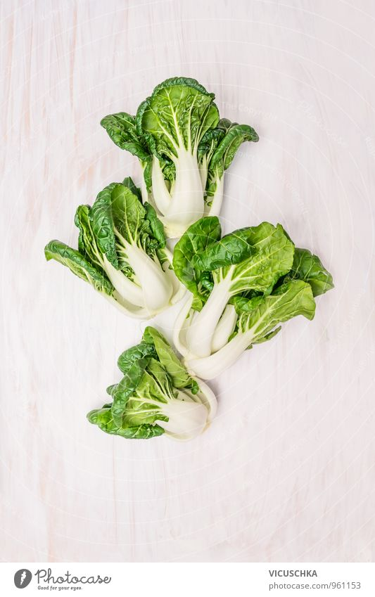 Baby Pak Choi cabbage on white wooden table Food Vegetable Lettuce Salad Nutrition Organic produce Vegetarian diet Diet Nature Design Background picture