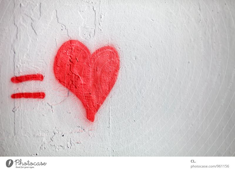 White Red Wall (building) Graffiti Emotions Love Wall (barrier) Happy Friendship Together Characters Heart Joie de vivre (Vitality) Romance Sign Kitsch