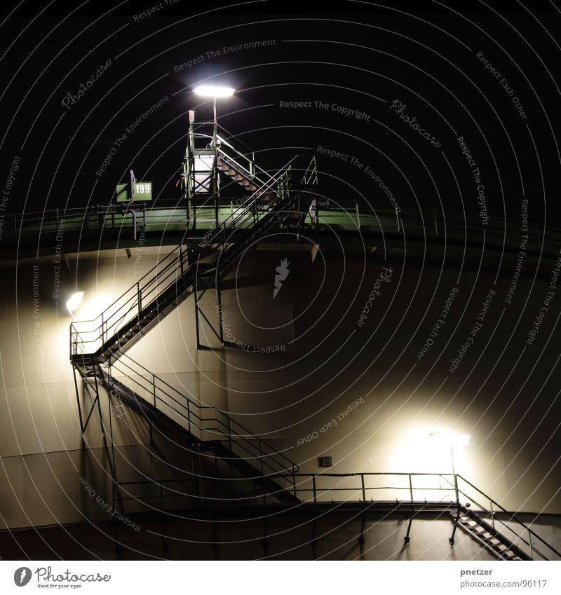 The stairs Factory Light Night Long exposure Exposure Green Black Industry Chimney Stairs Cooling tower