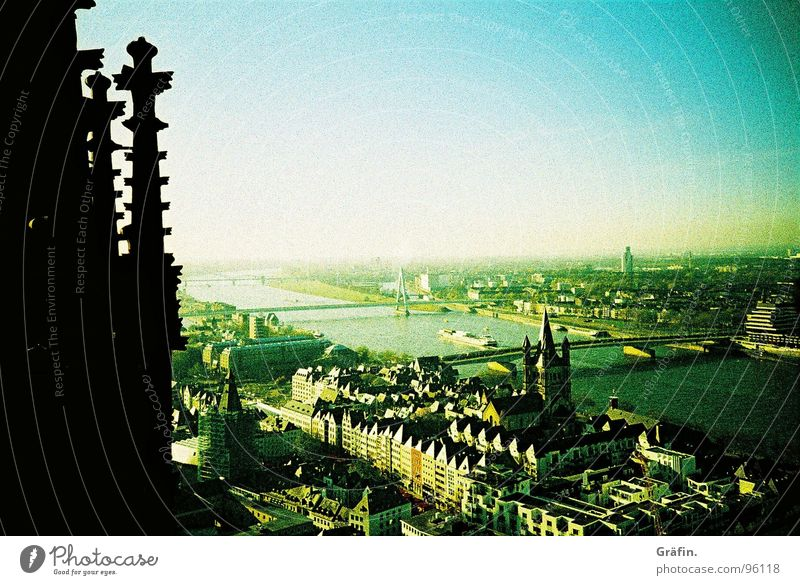 look down Cologne Cologne Cathedral Vantage point Black Capital of a pillar Far-off places Horizon Building Monument Delicate Green Builder Roof Housefront
