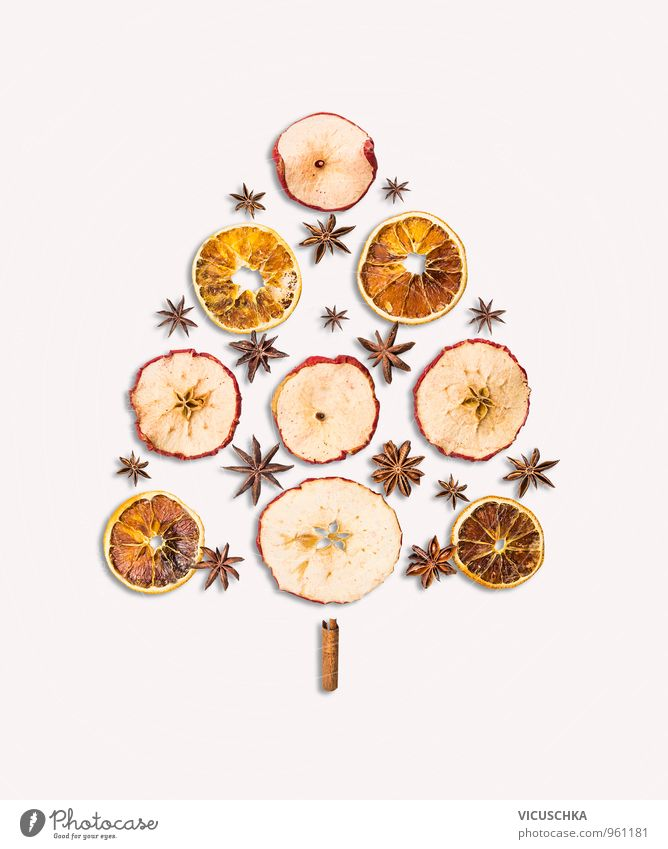 dry winter fruits in Christmas tree shape Food Fruit Apple Orange Candy Herbs and spices Lifestyle Style Design Leisure and hobbies Winter Interior design