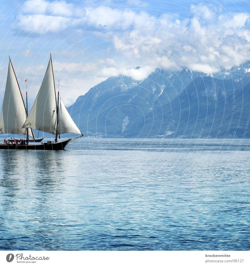 Blue Water Clouds Calm Relaxation Mountain Lake Watercraft Waves Wind Leisure and hobbies Switzerland Navigation Sailing Sailing ship