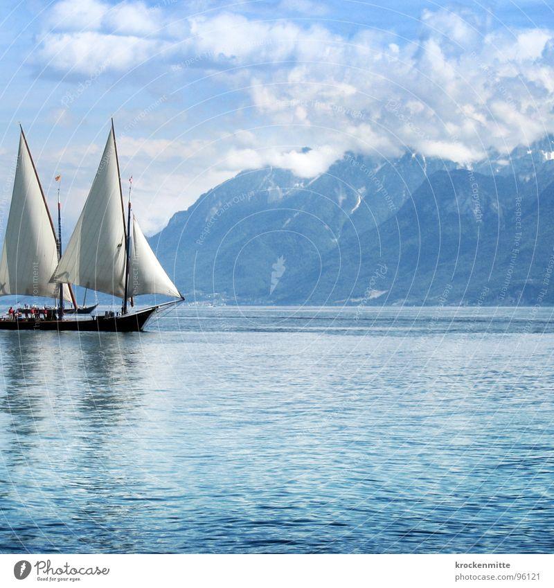 Blue Water Clouds Calm Relaxation Mountain Lake Watercraft Waves Wind Leisure and hobbies Switzerland Navigation Sailing Sail Sailing ship