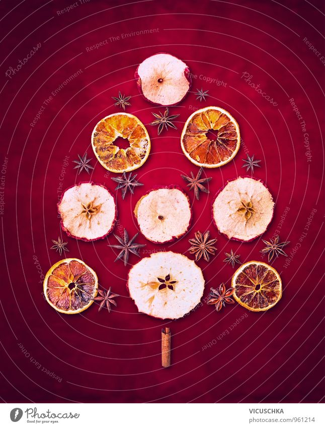 Nature Christmas & Advent Red Winter Background picture Feasts & Celebrations Food Leisure and hobbies Fruit Design Orange Dry Card Herbs and spices Apple Christmas tree