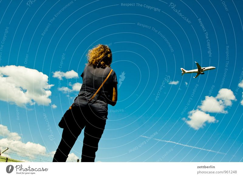 under the clouds Departure Airplane takeoff Far-off places Wanderlust Flying Aviation Airport Airfield Woman Border Cumulus Sky Perspective Vacation & Travel