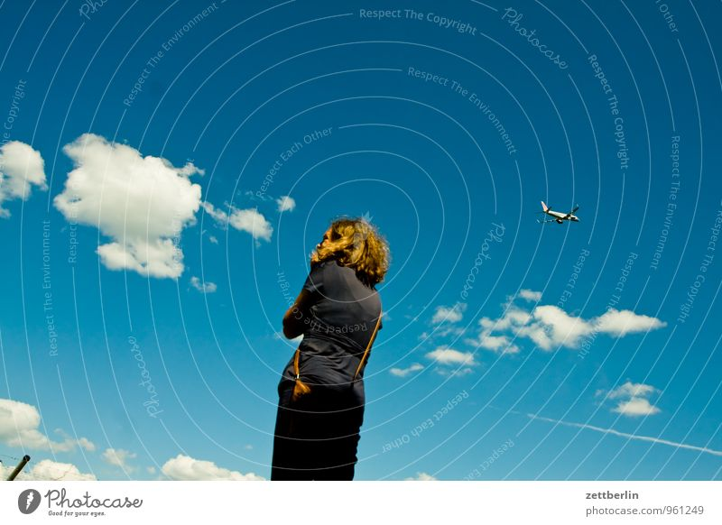 travel itineraries Departure Airplane takeoff Far-off places Wanderlust Flying Aviation Airport Airfield Woman Border Cumulus Sky Perspective Vacation & Travel