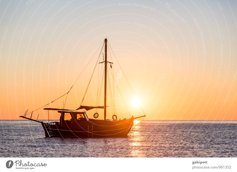 Vacation & Travel Blue Summer Relaxation Ocean Calm Beach Far-off places Happy Freedom Horizon Orange Contentment Tourism Trip Warm-heartedness