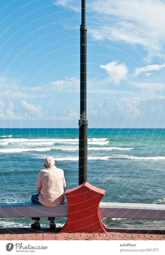 Human being Sky Man Old Ocean Loneliness Calm Clouds Adults Life Sadness Senior citizen Coast Masculine Waves Sit