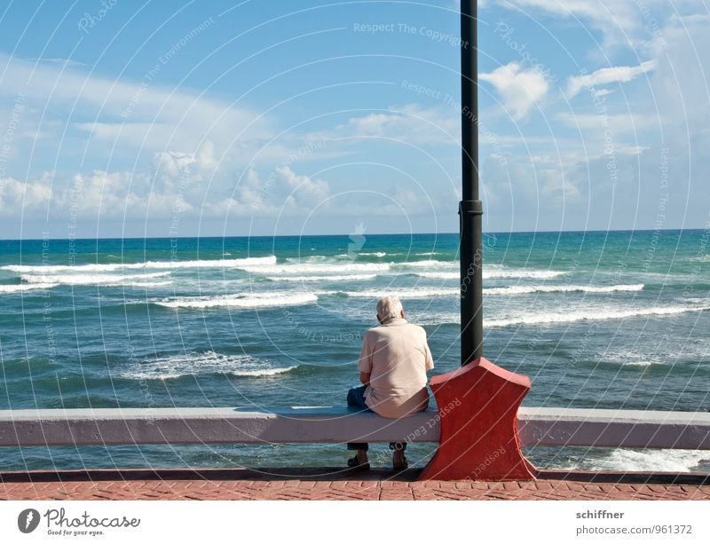 Human being Sky Man Old Ocean Loneliness Adults Sadness Senior citizen Coast Horizon Masculine Meditative Waves Authentic Sit