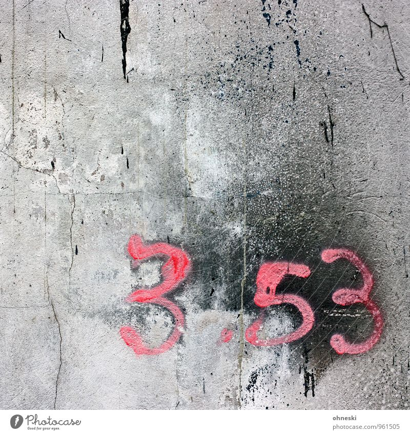 Black Wall (building) Graffiti Wall (barrier) Pink Facade Concrete Digits and numbers Crack & Rip & Tear