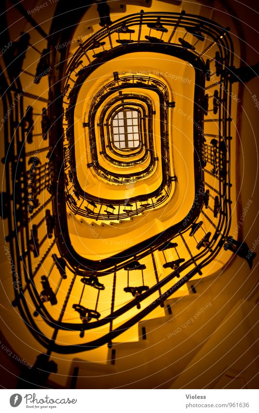 upstairs Architecture Stairs Fantastic Kitsch Yellow Beautiful Staircase (Hallway) Störtebeker house Banister Experimental Deserted