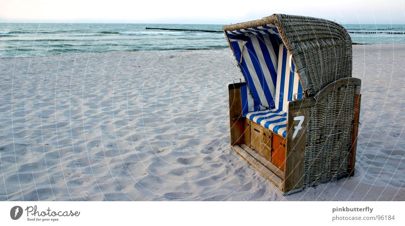Eastcoast chillin'... :c) Ocean Beach chair Waves Brown Vacation & Travel Zingst Wellness Stripe Basket Twilight Emotions Swell Coast Summer Sand Blue