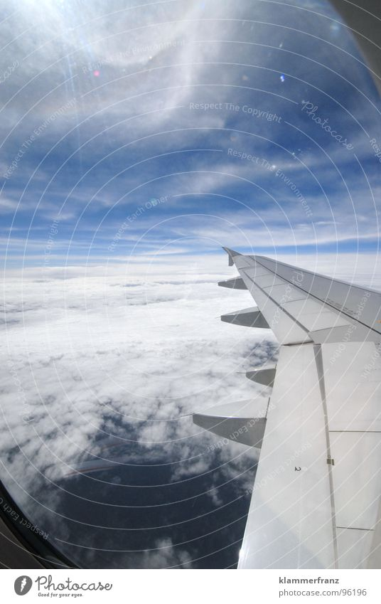 Sky White Blue Vacation & Travel Calm Clouds Loneliness Far-off places Relaxation Window Freedom Landscape Airplane Background picture Horizon Hope