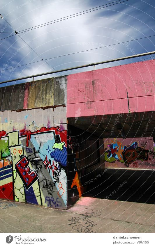 Sky White Green Blue Colour Graffiti Pink Background picture Bridge Painting (action, work) Tunnel Cyan Spray Street art Underpass Mural painting