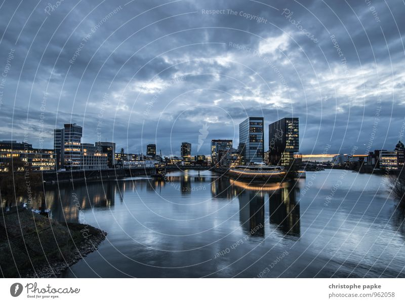 Blue Hour / Golden Lights City trip Clouds Night sky Duesseldorf Germany Town Downtown Skyline Deserted House (Residential Structure) High-rise Bank building